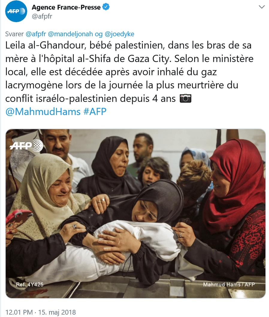 """Skærmklip af en tweet fra franske AFP (Agence France Presse - som mange kalder """"Agence France Palestine"""" så uobjektive de er)"""