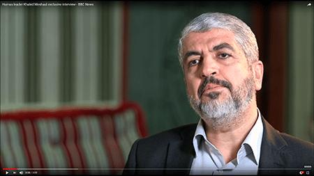 Hamas' leder, Khaled Meshaal . Fra en interview med BBC sendt på YouTube