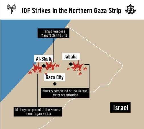 Kort over IDFs angrebspunkter (fra IDF)