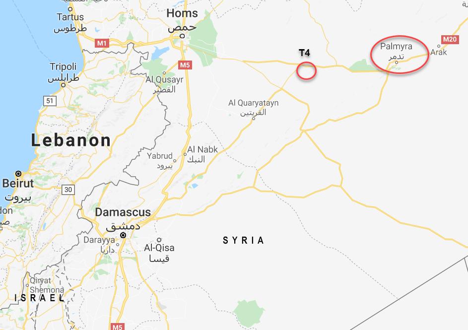 T4 er ca. 60 km vest for Palmyra