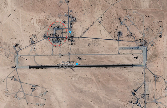 T4 - Den røde cirkel markerer stedet, der blev angrebet tidligere. Iranerne har nok bevæget sig udenfor det område.