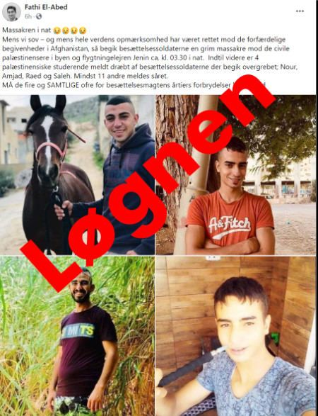 Fire uskyldige dræbte af israelske soldater... Uskyldige? - illustration